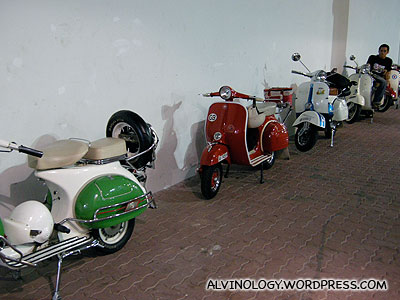 The Vespas on standby for the red carpet entrance