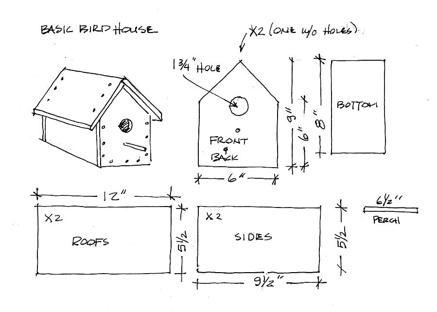 Free Birdhouse Drawings