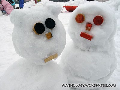 The first two snowmen Rachel and I made