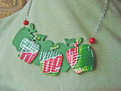 Apple concept necklace made from recycled aluminum cans, felt, and coral beads ~ 1 of 5 photos (Urban Woodswalker) Tags: red green art wow creativity necklace words different graphic handmade unique ooak jewelry apples imadethis etsy repurposed metalworking crat fantabulous upcycled aluminumcans trashion urbanwoodswalker recyeld itsmyowndesign sodaypop