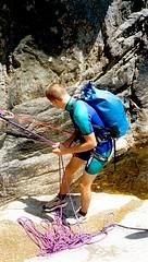 Canyon du Vivaggiu (Cagna) : Laurent dans le 1er rappel