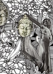 SALOME AND THE HEAD OF BUDDHA (Narolc) Tags: bw art collage ink paper drawing visual a5 visualart linedrawing detailed intricate sici sharingart 20090314