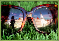 sunglasses in the gras (Hausstaubmilbe) Tags: green sunglasses lumix decoration panasonic g1 reflexion soe vitrine steyr goldstaraward panasoniclumixg1
