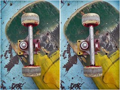 Busted Skateboard (CrossView 3D) (patrick.swinnea) Tags: abandoned broken sports wheel lost stereoscopic stereophoto 3d crosseye skatepark skate skateboard crossview xview