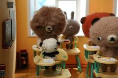 Test Day (TADA's Revolution) Tags: bear school test rabbit bunny miniature panda classroom desk handmade oneofakind ooak crochet craft class plush softie stuffedanimal kawaii rement amigurumi exam diorama crafting dollhouse megahouse