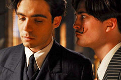 "Javier Beltrán as Federico García Lorca and Robert Pattinson as Salvador Dalí in ""Little Ashes"""