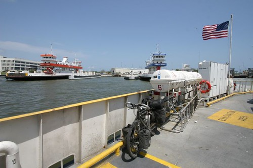 Free ferry from Galveston Island to Port Bolivar on the Bolivar Peninsula, Texas.