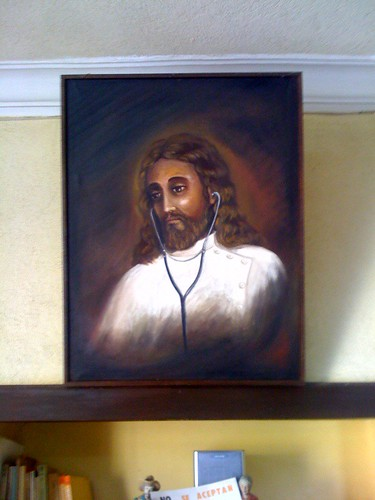 Docter Jesus: Painting on the wall of a traumatologist's clinic waiting room in Guatemala.