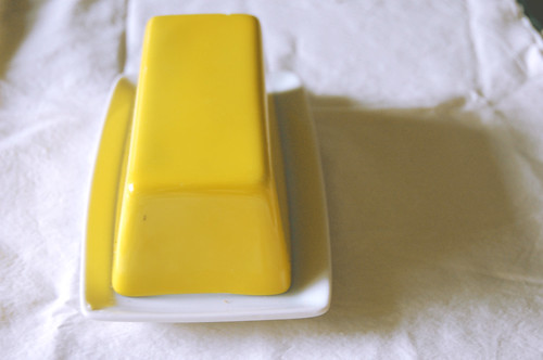 Thrifted yellow butter dish
