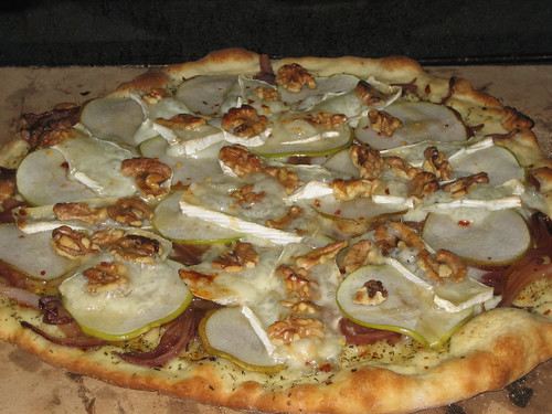 Apple, Pear, Caramelized Onion, Honey, Brie and Walnut Pizza