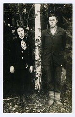 The June Wedding: Aftermath---The Long Slow (Often) Inevitable Slide Into The Abyss---Real Photo Postcard, Young Couple With Birch Tree (mrwaterslide) Tags: old tree vintage couple sad antique postcard swastika oldphoto vernacular birch rppc realphoto