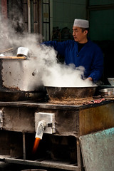 (hijukal) Tags: china fire muslim jet steam flame xian streetfood streetvendor chinesemuslim asia2008