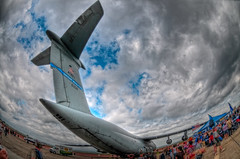 C-5 Galaxy - HDR (NikonJim) Tags: plane aircraft transport jet cargo fisheye airshow rhodeisland galaxy handheld airforce usaf hdr c5 quonset westover d300 105mmf28gfisheye photomatix militarytransport 5frame airreserve northkingston goldstaraward patriotwing nikonjim