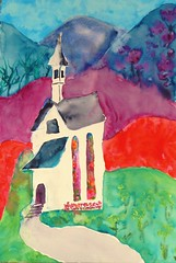 The Little Church in the Hills - Sold (Cheryl Nelson Kellar) Tags: church watercolor hills quaint watermedia