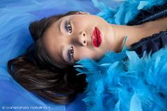 Xian - Blue ({Connie} Constanza Natalino | Photography) Tags: lighting blue red art canon photography model photographer dress feathers cyan lips boa xian constanzanatalino