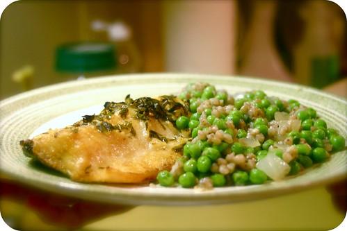 lemon basil lake trout, peas and buckwheat