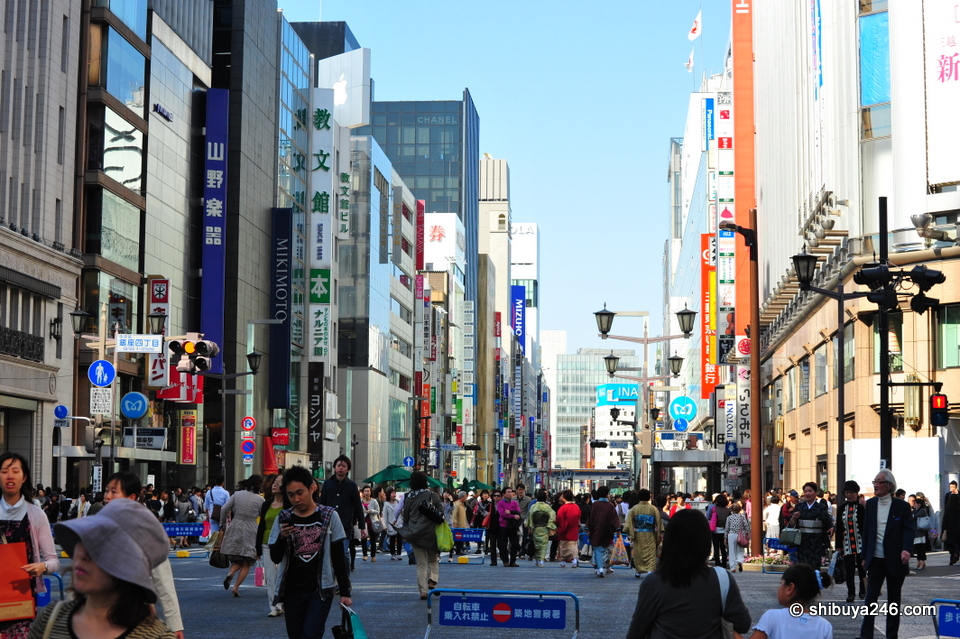 One of the main streets in the center of the Ginza.