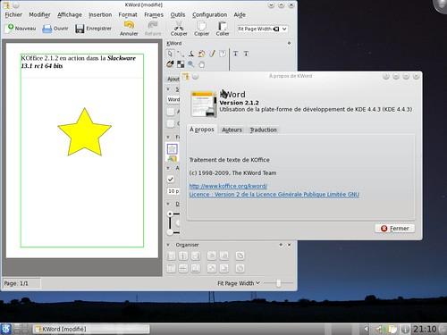 Koffice 2.1.2 dans la Slackware 13.1rc1