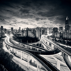 Shanghai City at sunset with light trails (Bakh2013) Tags: road street city travel light sky urban bw abstract motion blur building bus tower car skyline architecture night speed skyscraper way landscape movement twilight highway automobile downtown driving glow cityscape view shanghai traffic dynamic dusk district transport central dramatic fast landmark scene move commercial transportation future vehicle czechrepublic financial metropolitan jinmao abstractarchitectureautomobilebwblurbuildingbuscar