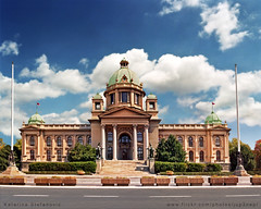 National Assembly of Serbia (Katarina 2353) Tags: city blue windows summer sky white building film architecture clouds photography nikon europe flickr cityscape image serbia parliament cielo belgrade katarina beograd discover srbija slika stefanovic skupstina vertorama nationalassemblyoftherepublicofserbia katarinastefanovic katarina2353 savezna zdanjedomanarodneskupstine narodnaskupstina saveznaskupstinasrbije konstantinjovanovicjovanilkicnikolajkrasnov domnarodneskupstinerepubliesrbije