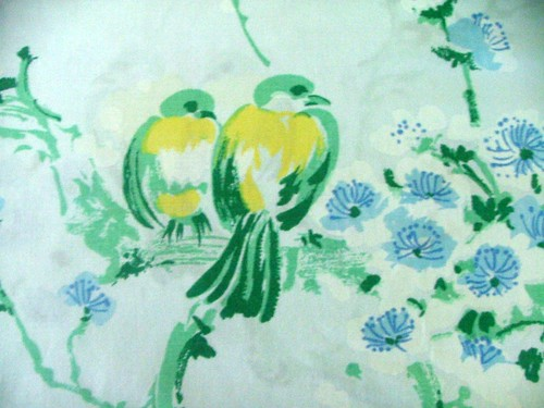 Vintage sheet with Birds and Flowers