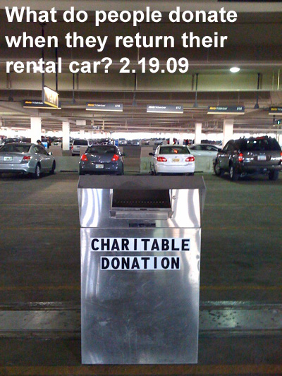 What do people donate when they return their rental car?