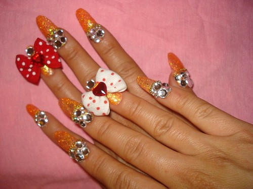 Orange Nailart Designs For Long Finger Nails