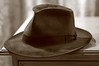 his old hat, there on my desk (lesbru) Tags: hat sepia duotone trilby