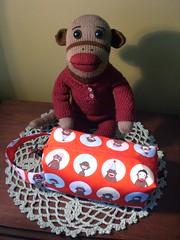 mr. foster's new bag. (No Knit Sherlock!) Tags: sockmonkey monkeybag ilovesockmonkeys mrfostersockmonkey sockmonkeybagfromzigzagstitches