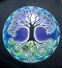Full Moon Mandala (blue_sea_art) Tags: tree leaves pencils glow branches roots mandala fullmoon moonlight prismacolor sprouting circleilluminated