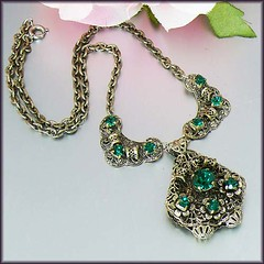 Fancy Emerald Green Glass Czech Filigree Necklace (poshadornment) Tags: art glass vintage gold necklace costume pin hand czech antique brooch victorian jewelry retro made earrings posh nouveau deco bohemia bohemian edwardian czechoslovakia adornment czechoslovakian czecho poshadornment