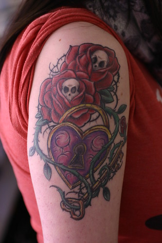 New School Roses, Skulls, Lock Sleeve Tattoo