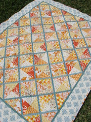 Square Dance Quilt (Cut To Pieces) Tags: orange yellow triangle quilt handmade teal diamond lattice amybutler denyseschmidt sandihenderson