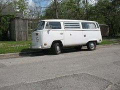 White Bay Window Campmobile VW Bus in Houston, Texas - Driver Side Front View