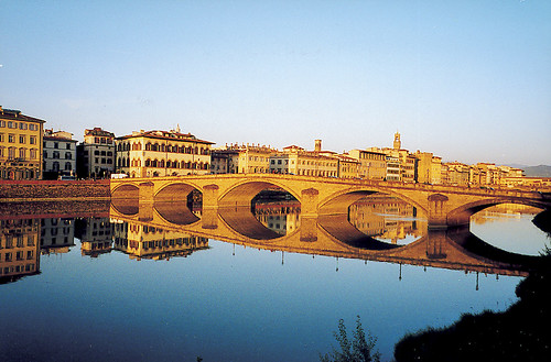 reflecting bridge on the Arno River