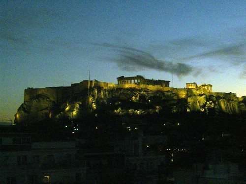 acropolis rock by night