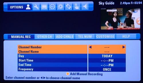 Sky+HD EPG 7 - recording radio