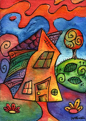 ACEO - Geometric Abstract House - aceo#281 (lierre.foest) Tags: house abstract art watercolor painting miniatures artwork artist ebay paintings aceo sfa artists artcard lierre artcards winsorandnewton winsornewton geometricabstract lierrefoest