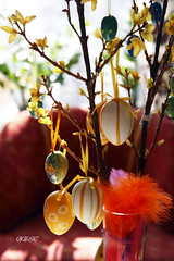 Happy Easter! ( B i b b i ) Tags: canon easter spring egg feathers forsythia 2009 vr 30d happyeaster psk gladpsk gg easterdecoration canon30d pskris fjdrar sigma1770mmf2845dcmacro eastertwigs pskdekoration