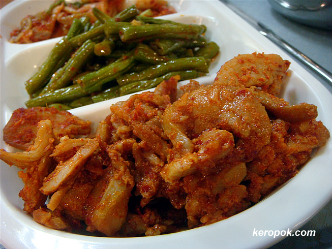 Chicken, Long Beans, Kimchi set