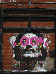 (shoehorn99) Tags: nyc streetart pasteup pastedpaper look brooklyn graffiti tag katsu joeblack