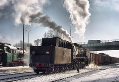 Wolsztyn Poland February 4th February 2003 (loose_grip_99) Tags: 2003 railroad station train engine atmosphere poland railway trains steam locomotive railways 282 wolsztyn gassteam pt49 pt49112