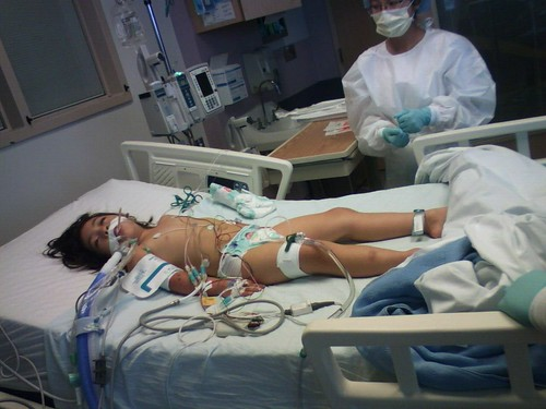 Here is Serene early on in the ICU.  It was so frightening to see her this way.