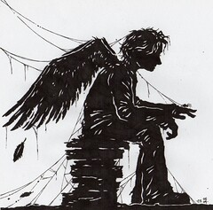 Skellig... (Steering for North) Tags: wood man silhouette illustration angel spider wings sitting magic feathers story dust arthritis childrensbook cobwebs splinters skellig figurativeillustration davidalmond ohidolikedrawingcobwebs