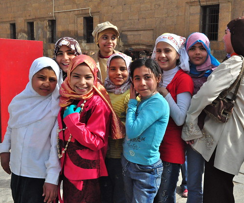 Friendly smiles at the Mohammed Ali Mosque, Cairo.