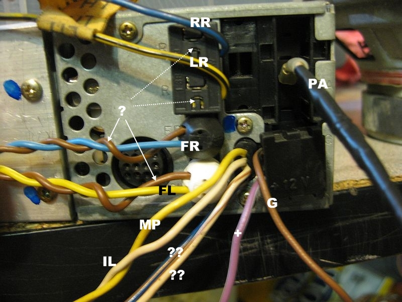 stock head unit cm wiring questions forums rr right rear bu bl lr left rear yl bl fr front right bu connects to > bu rd br connects to >bu br common ground splice fl front left