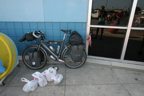 Couldn't control myself in the supermarket. 4 bags of goodies. Hard to fit on the bike.