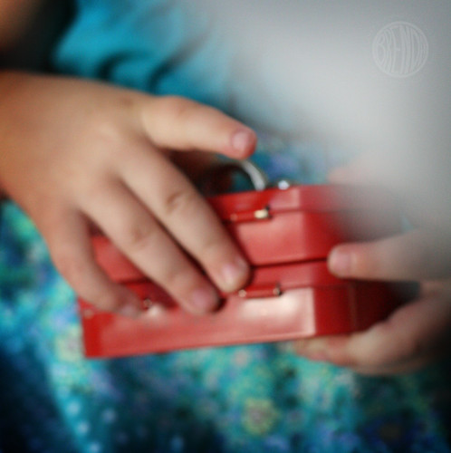 Mini toolbox in child's hands