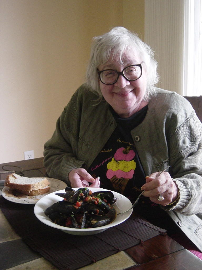 My Mom getting ready to enjoy the mussels