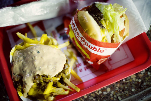 Ultrateg 拍攝的 In-N-Out.  Double double with animal styled fries。